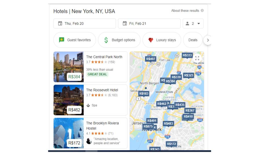 google seach hotels in new york