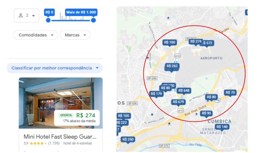 Resulto do Google Hotel Search no Maps de hotéis próximos