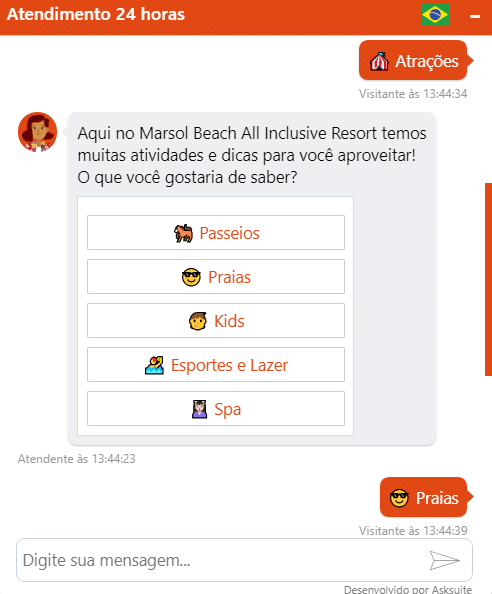 Conversa com o chatbot do hotel Marsol Beach Resort.