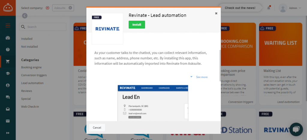 asksuite and revinate
