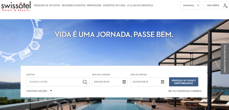 Barra fixa para reservas no site do hotel