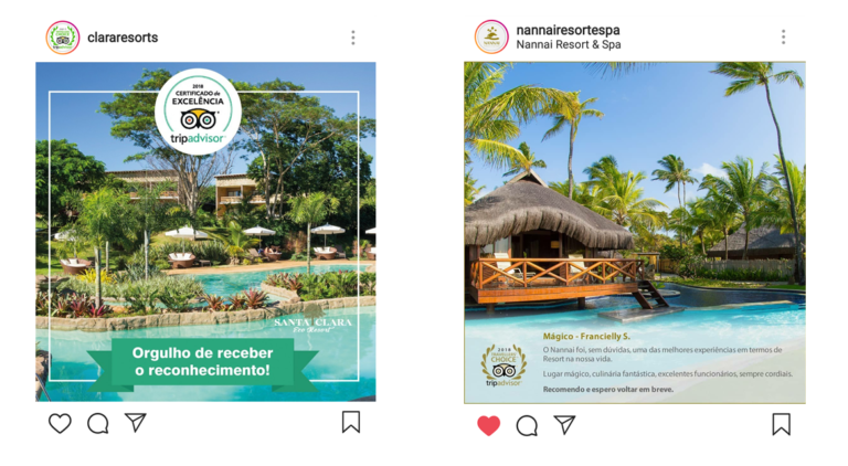 Coloque os bons reviews do TripAdvisor no Instagram do hotel